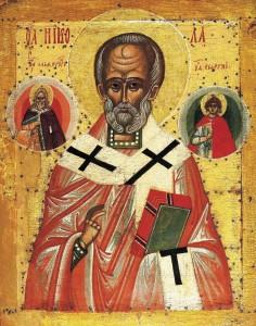 Никола Чудотворец c пророком Илией и Влкмч Георгием. XV в.