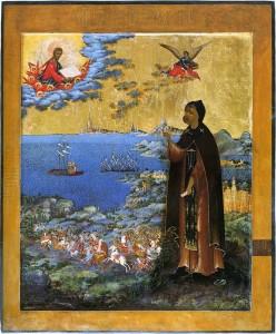 Святой благоверный князь Александр Невский со сценами жития. Икона невьянского письма начала XIX века