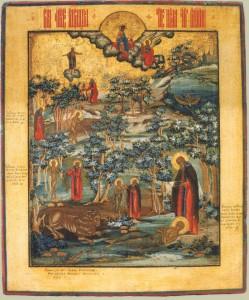 Св. Мария Египетская со сценами жития. Начало XIX века. Палех.