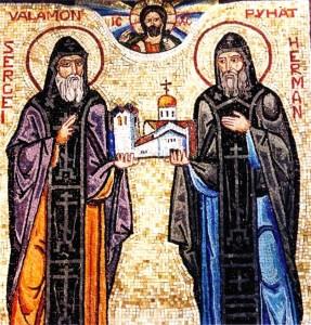Сергий и Герман Валаамские (мозаика из монастыря Новый Валаам)
