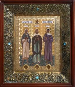 Икона святых блаженных Дивеевских Пелагии, Параскевы, Марии. Собор Иоанно-Предтеченского монастыря