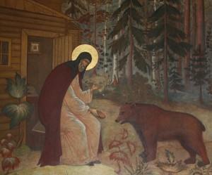 преподобный Сергий кормит медведя