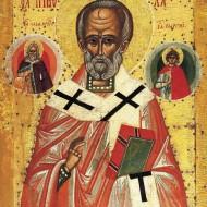 Николай Чудотворец со свтыми Илией Пророком и Георгием Победоносцем, 15 век