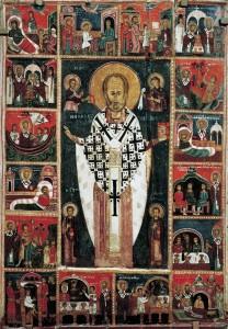 Никола с Христом, Богородицей, Святыми Косьмой и Дамианом и шестнадцатью клеймами. Начало XIV в