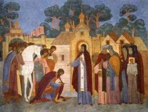 Преподобный Сергий игумен Радонежский благословляет князя Димитрия Донского на Куликовскую битву